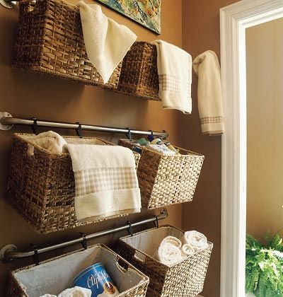 wicker basket shelving