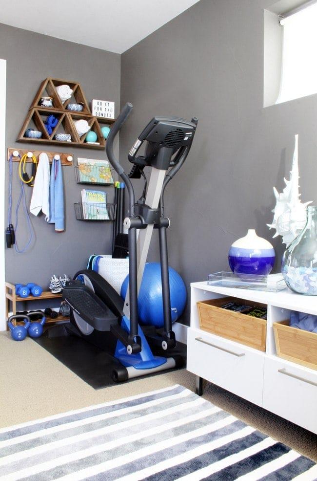 workout equipment shelving