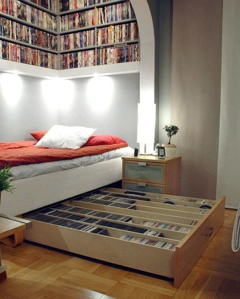 Book Shelves Over the Bed
