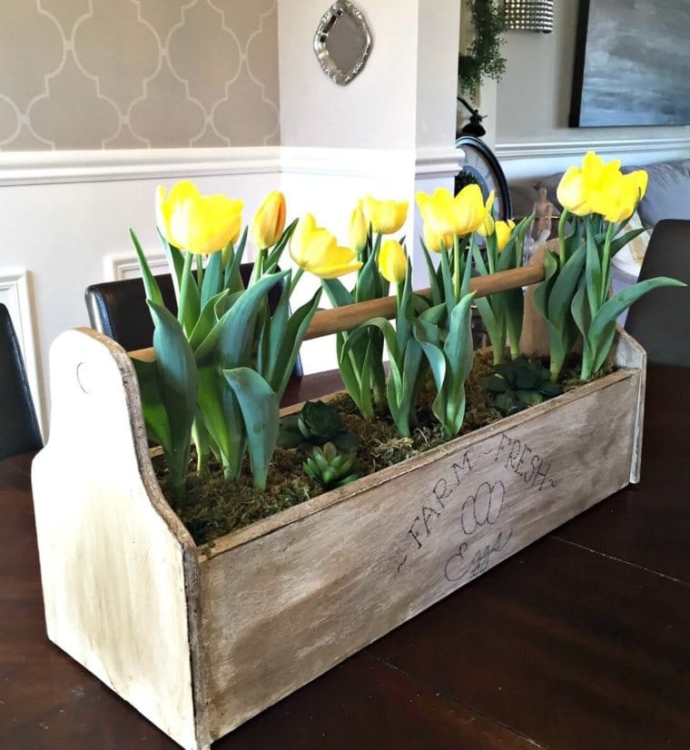 Egg Box with Tulips