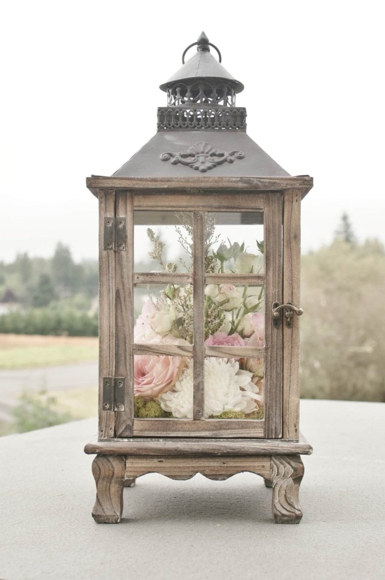 Lantern with Flowers Arranged