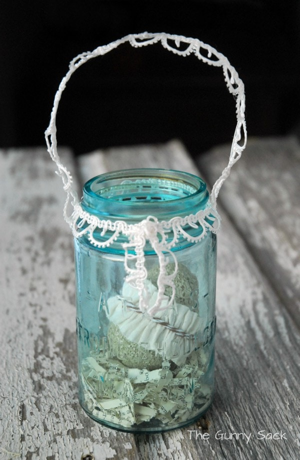 Lace Trimmed Mason Jar