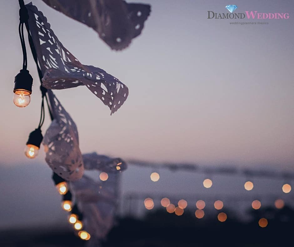 Ribbons Tied to String Lights