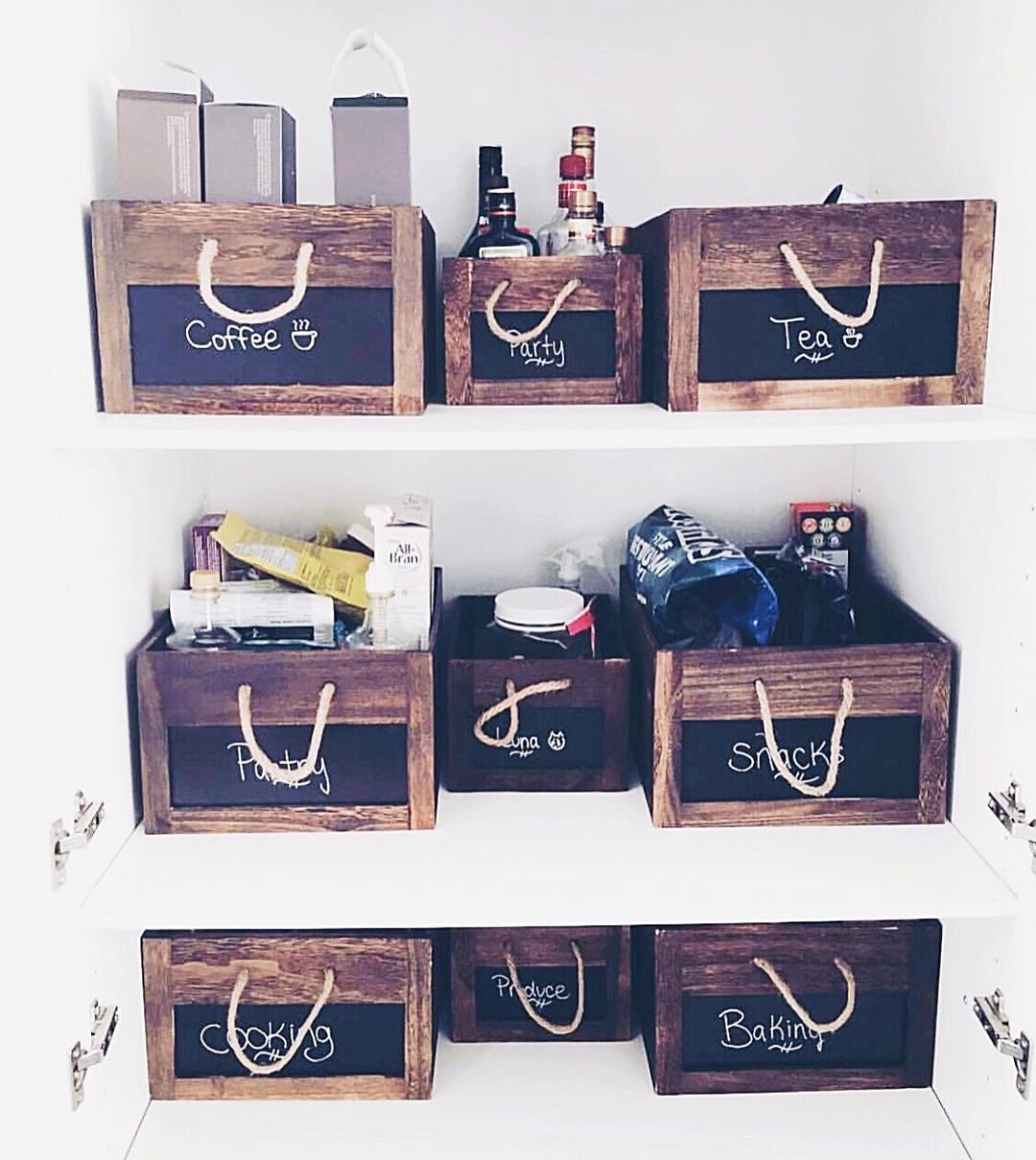 Wooden Boxes with Rope Handles