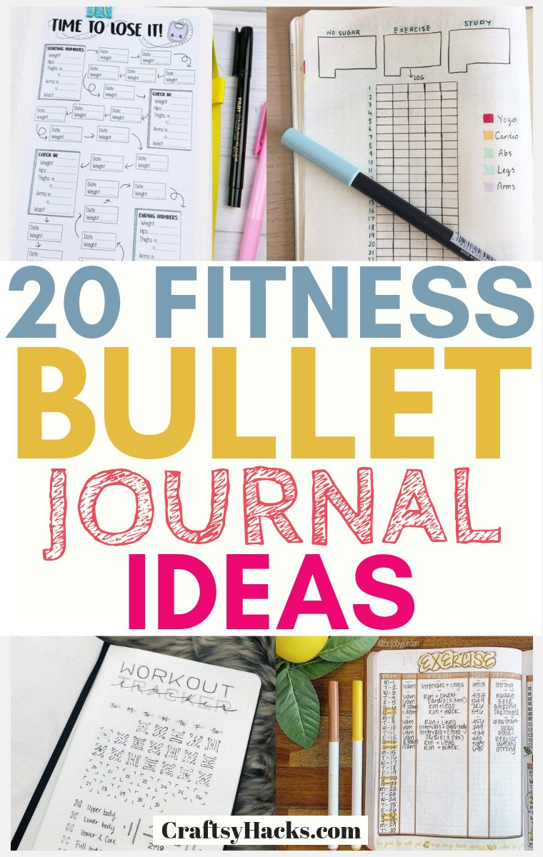 Fitness Bullet Journal Spreads for Losing Weight