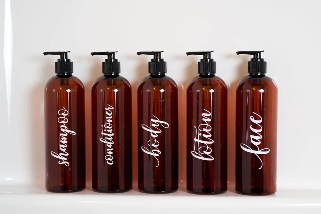 Labelled Plastic Pump Bottles