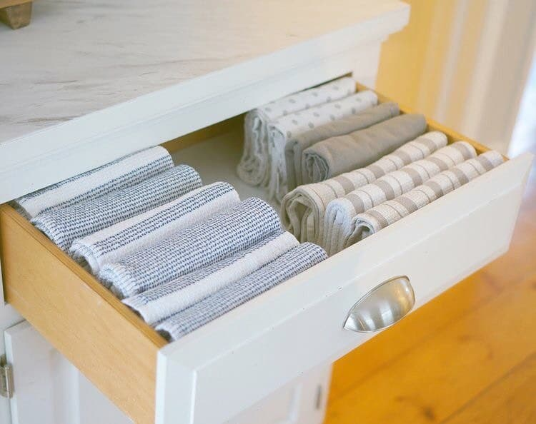 Folded Towels in a Drawer