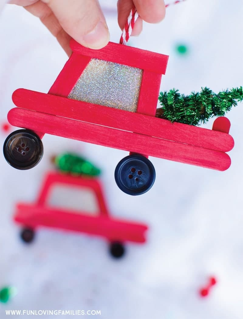 Truck Popsicle Stick Christmas Ornaments