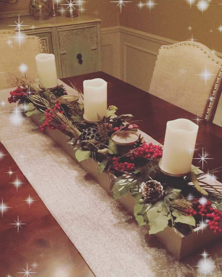 wooden candle centrepiece