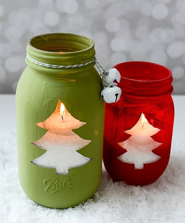 christmas tree mason jar candle