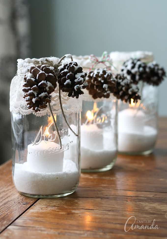 Snowy Candle Jars