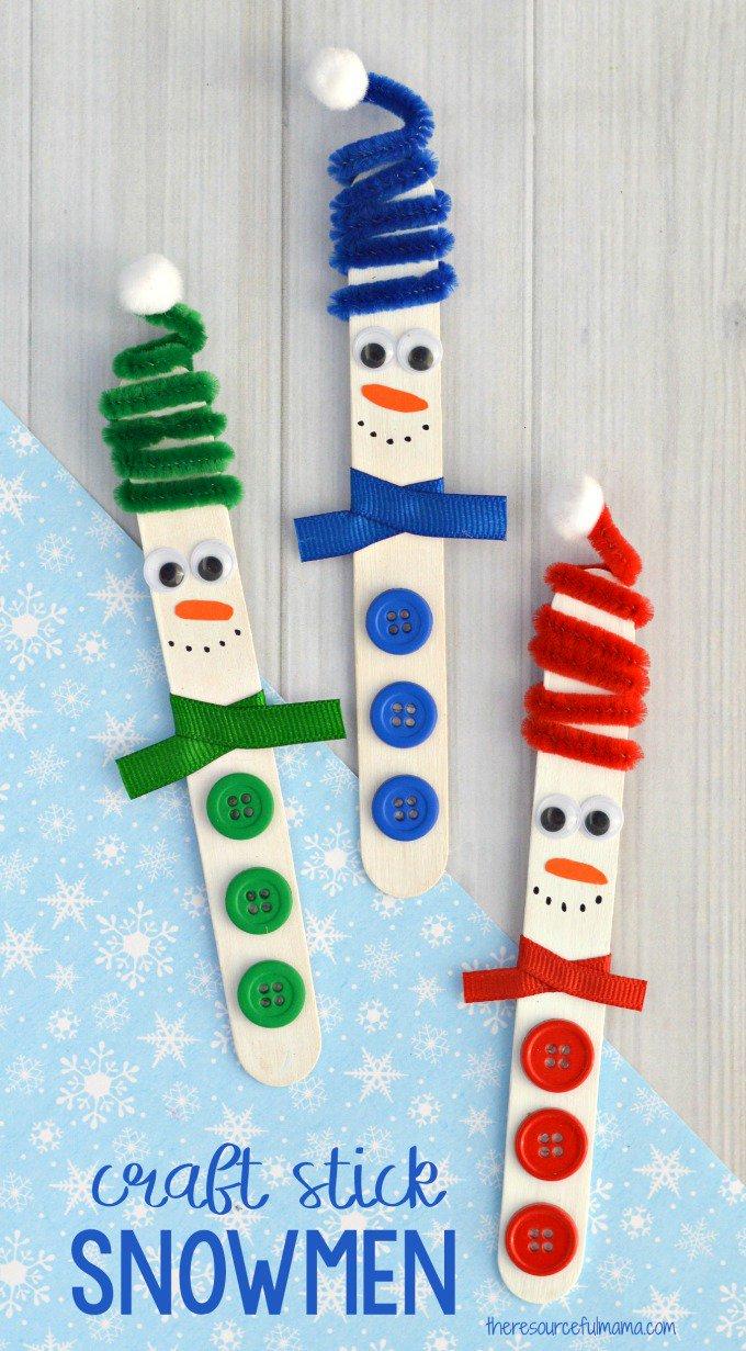 Wooden Stick Snowman