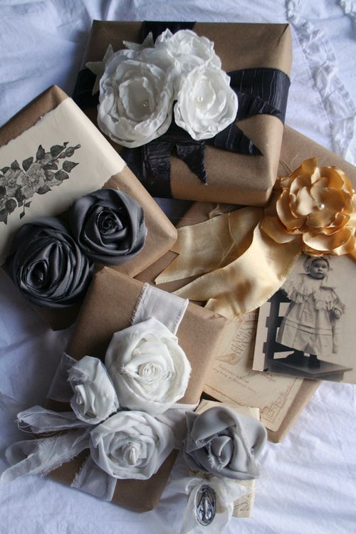 no-sew fabric flower wrapping