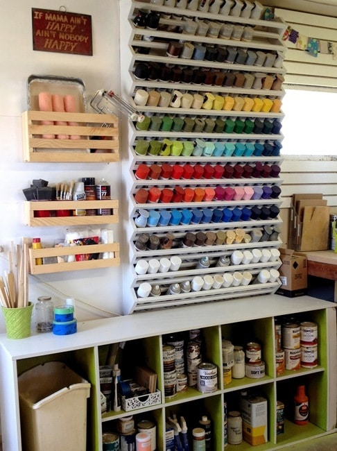 DIY Woodshop Spray Paint Rack