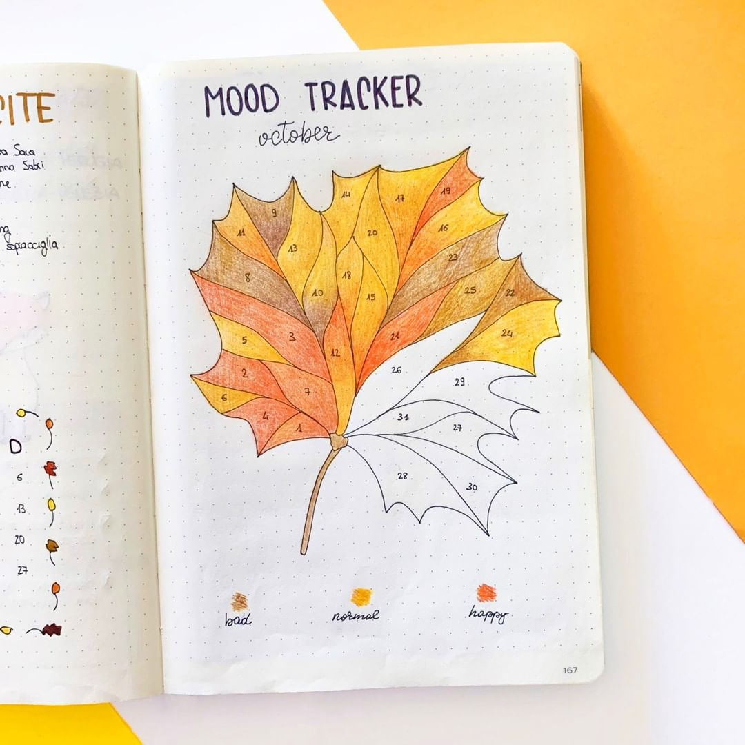 Yellow Leaf bullet journal