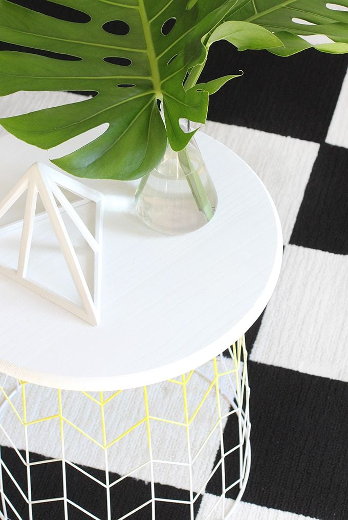 DIY Wire Basket Side Table