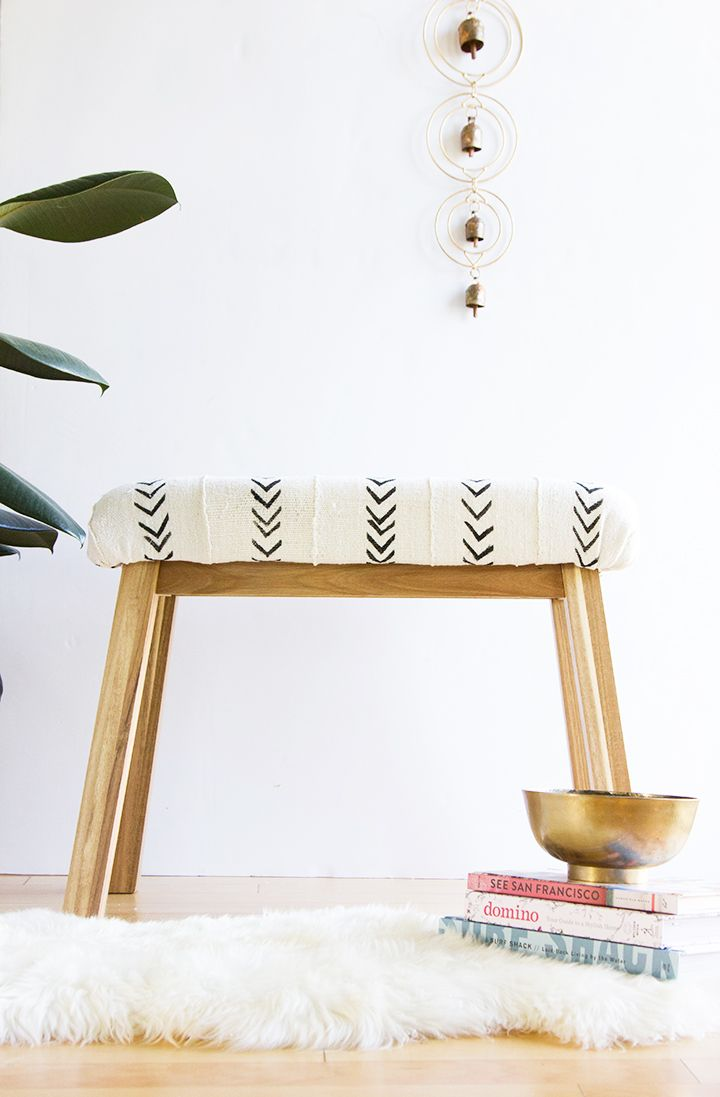 Mudcloth Upholstered Bench