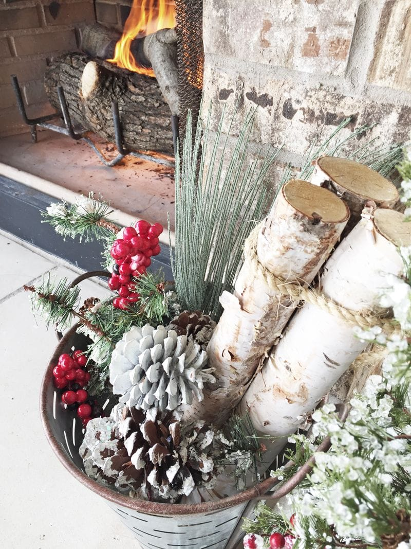 fireplace decor basket