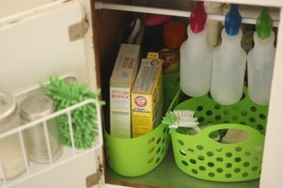 under sink organizing