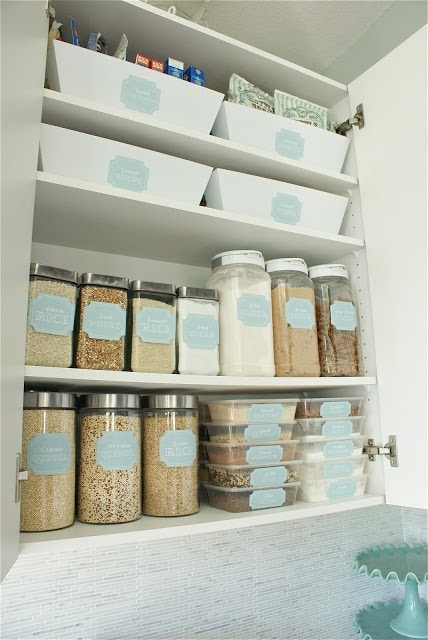 organized pantry cabinet