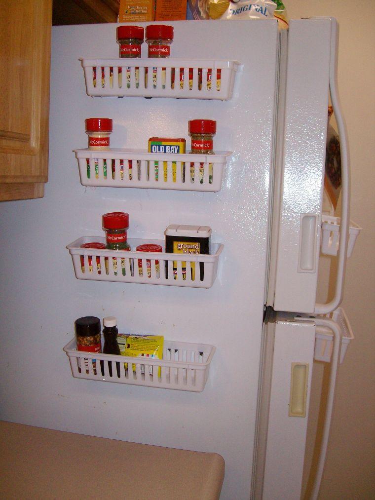 spice racks on fridge