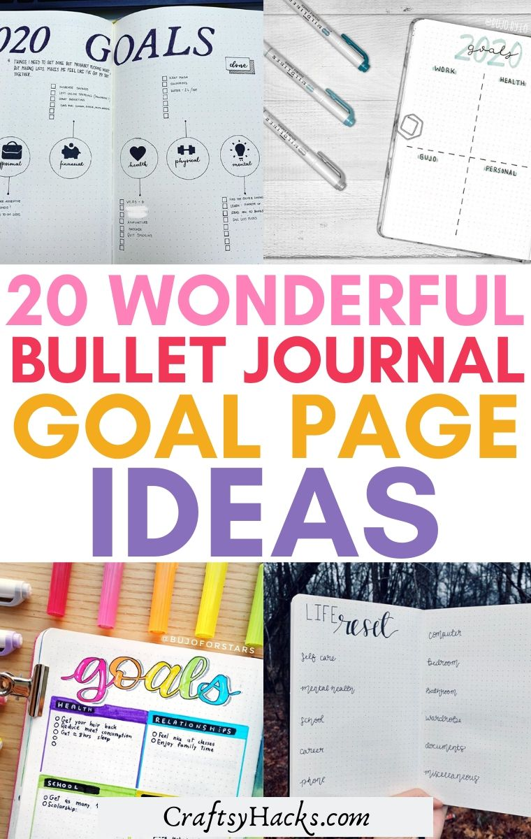 bullet journal goal page