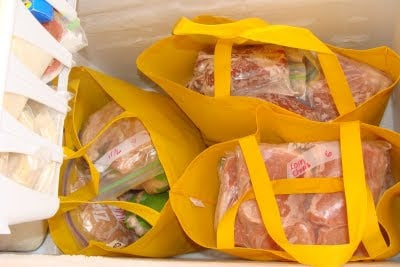 shopping bags in freezer