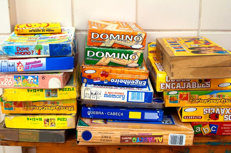 indoor activity: board games boxes
