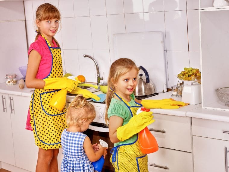 kids cleaning home