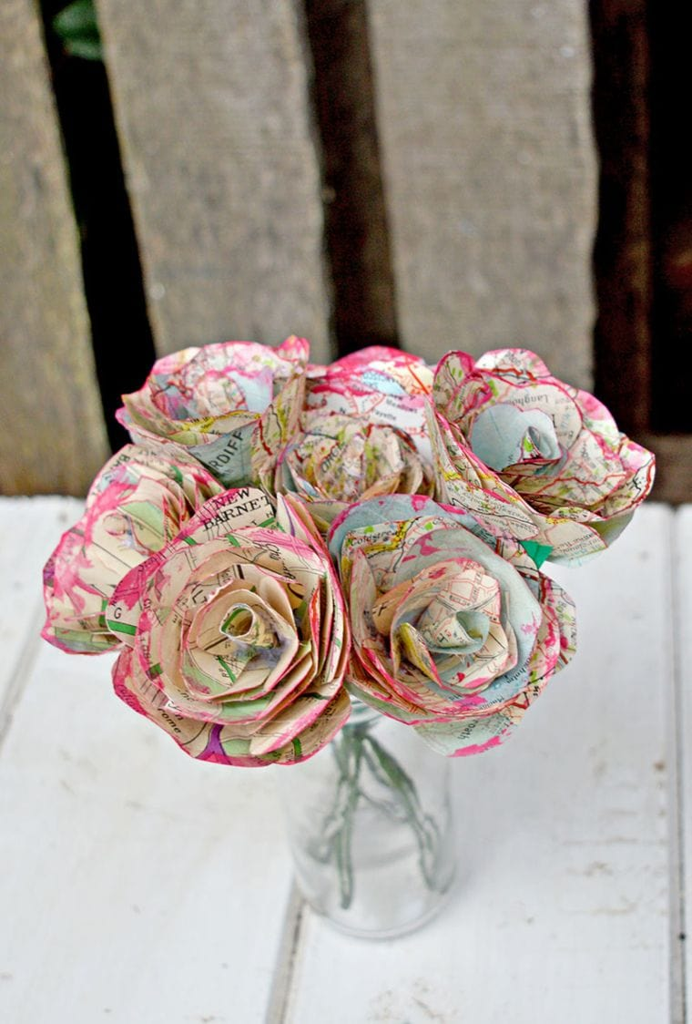 Map Roses made out of paper