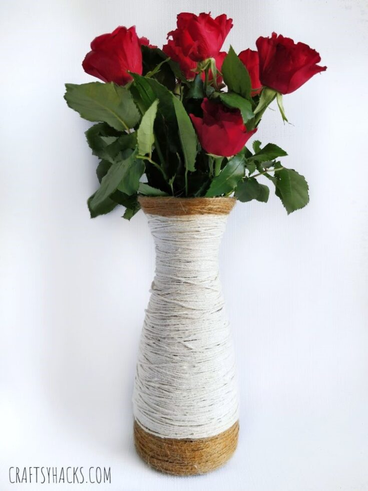 Yarn-wrapped Glass Vase