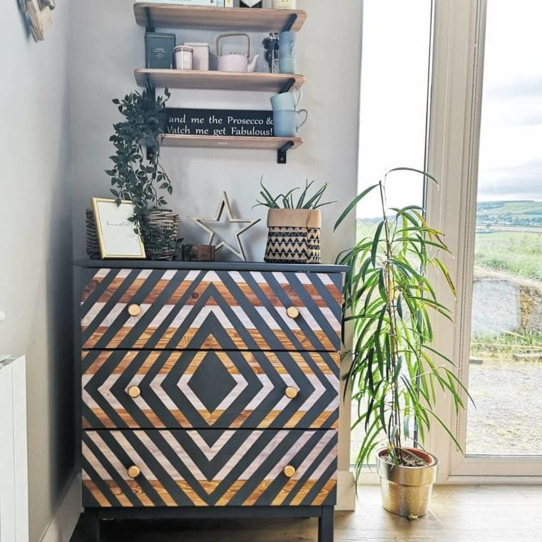 black geometric dresser design