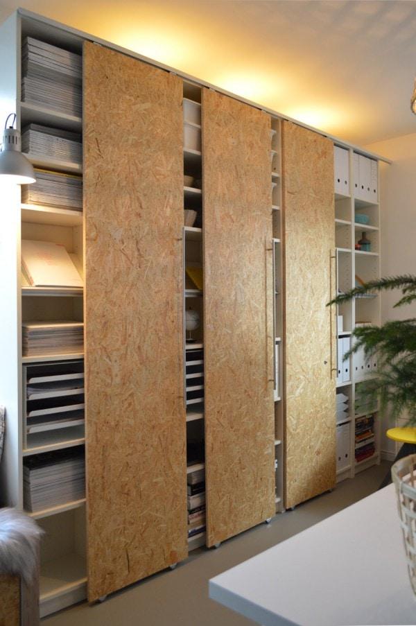 Billy Bookshelves with Sliding Doors