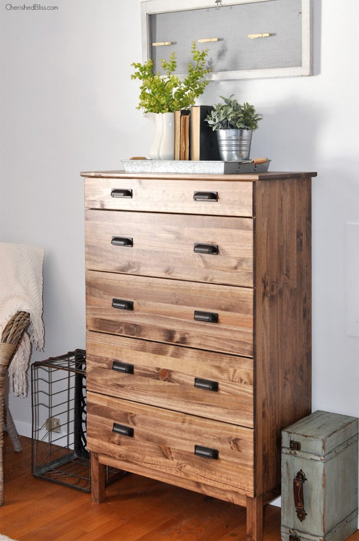 wood stained tarva drawers