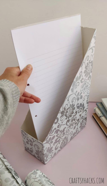paper in magazine holder