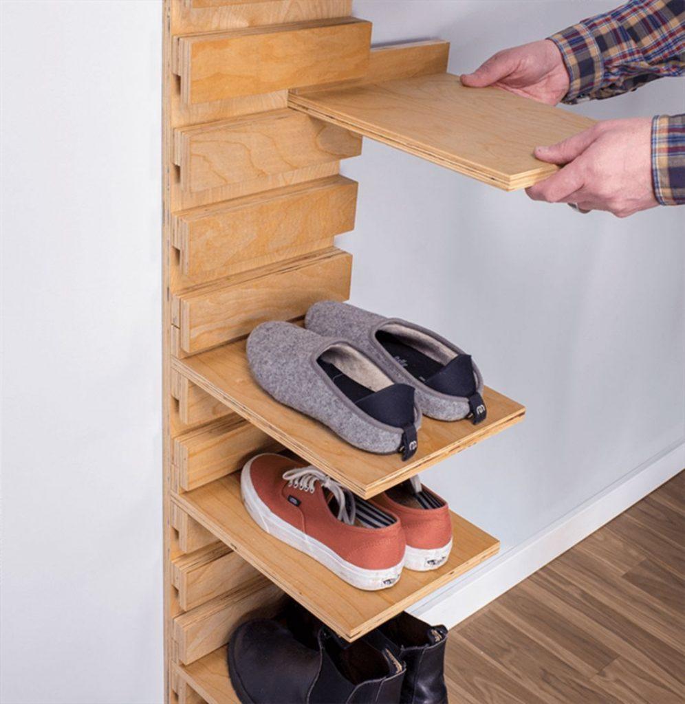 Wall-Mounted Wooden Shoe Rack