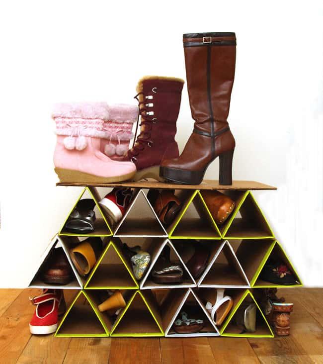 DIY Triangular Card Board Shoe Rack