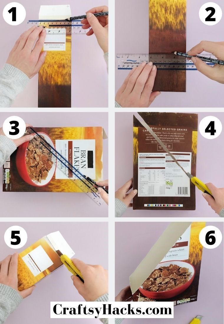 cutting out cereal box