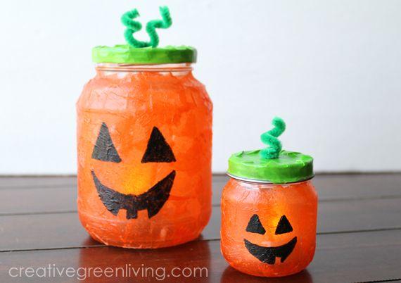 Light-Up Pumpkin Jars