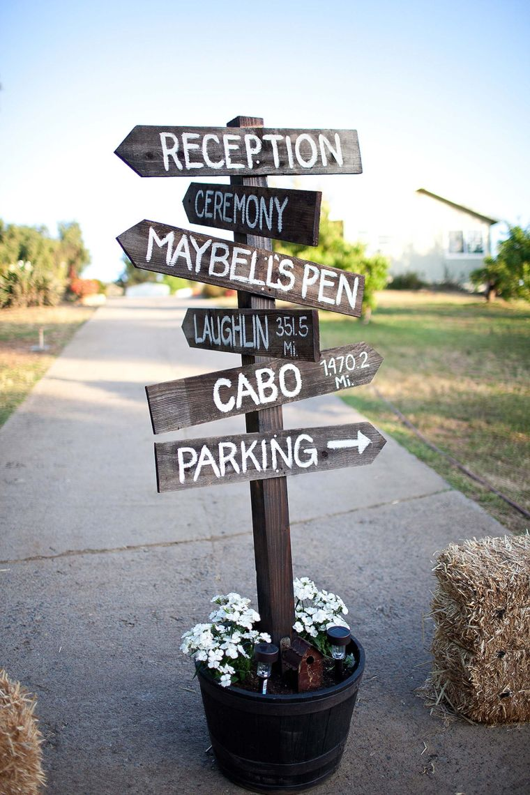 Potted Directional Wood Signs