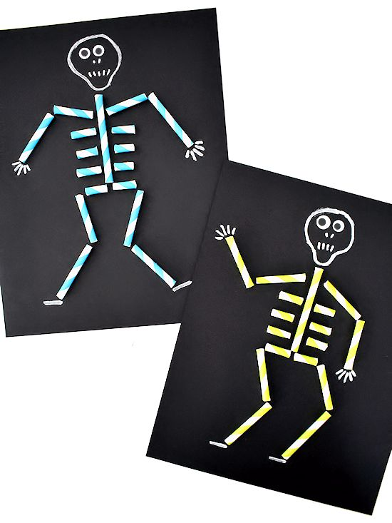 Paper Straw Skeleton Art