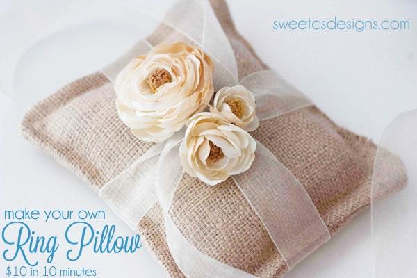 Burlap Pillow Ring Holder