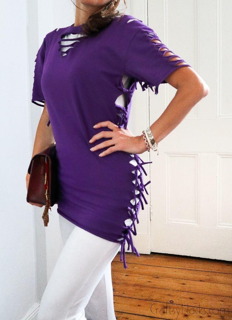 woman wearing diy shirt