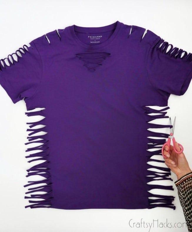 cutting loops of shirt