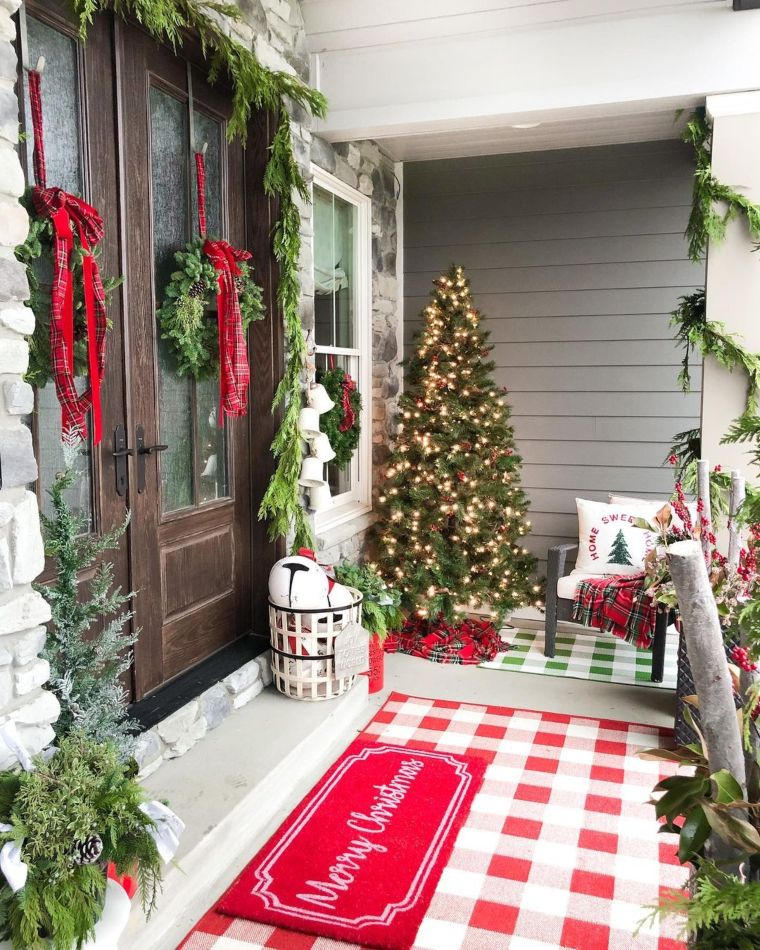 Buffalo plaid porch