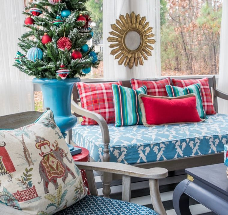 teal and red cosy decor