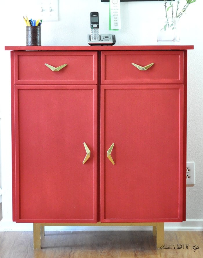 red retro sideboard