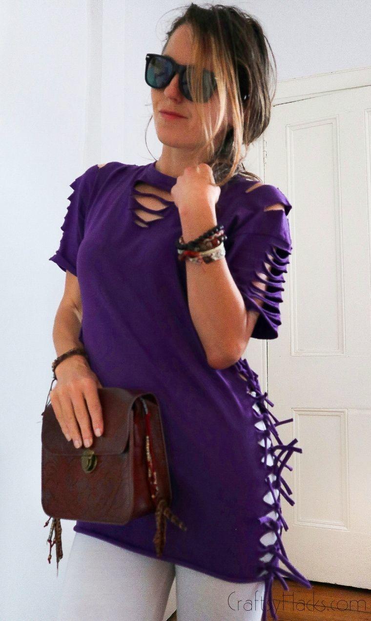 woman wearing no sew shirt