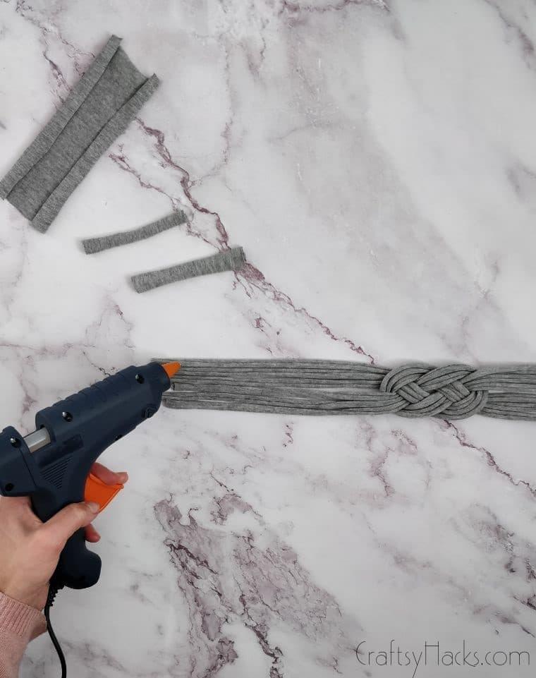 glue gun in hand