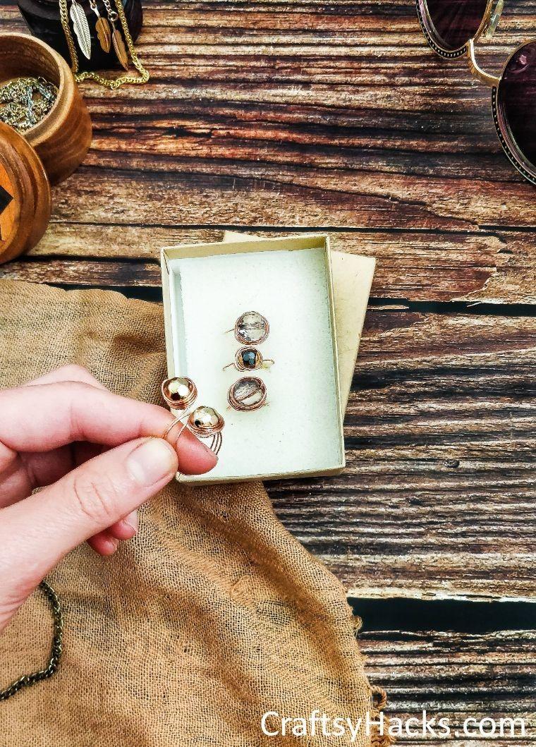 displayed copper rings
